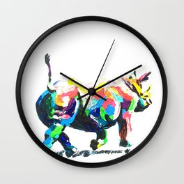 Rainbow Rhino Wall Clock