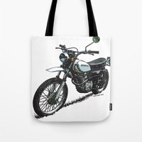 honda Tote Bags featuring Honda XL250 Vintage Motorcycle Artwork by Ernie Young