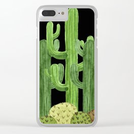 Desert Vacay Three Cacti on Black Clear iPhone Case