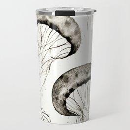 jelly fishes black and white Travel Mug