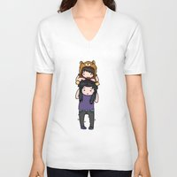 danisnotonfire V-neck T-shirts featuring Dan and Phil by Sanni Salmela