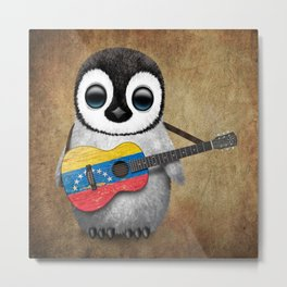 Baby Penguin Playing Venezuelan Flag Guitar Metal Print