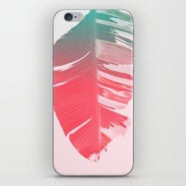 Dreamy Salmon Pink Tropical Banana Leaves iPhone Skin