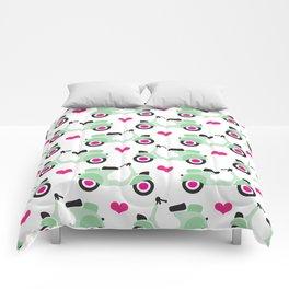Italian vespa scooter illustrated pattern Comforters