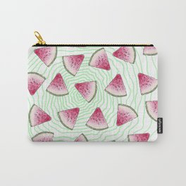 Summery Cute Watercolor Watermelons on Green Swirl Carry-All Pouch