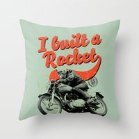 cafe racer Throw Pillows featuring Cafe Racer by Liviu Antonescu