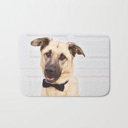 Beautiful rescue dog wearing a bow tie! Bath Mat