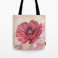 poppy Tote Bags featuring Poppy by Annike