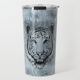White Tiger on Frost glass background Travel Mug