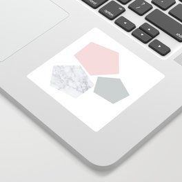 Blush, gray & marble geo Sticker