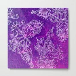 Purple Henna Metal Print