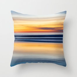 Cloudy Abstract Ocean Beach Seascape Reflection (blue and orange gradient ombre) Throw Pillow