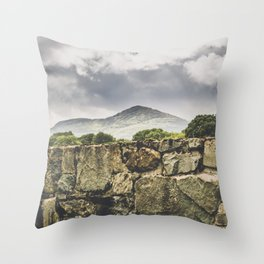 Stone wall and mountain landscape in Ireland Throw Pillow