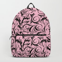 Pink & Black Flourish Pattern Backpack