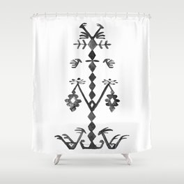 Tree of Life Black White Tribal Ethnic Kilim Motif Shower Curtain