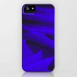 Psychedelic foil blue landscap with stylised mountains, sea and Sun. iPhone Case
