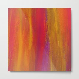 Abstract Brushstrokes Hot Tropical Streaks of Color Metal Print