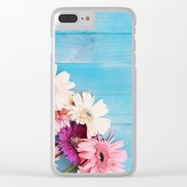 Flowers x Faded Blue Wood Clear iPhone Case