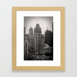 Chicago Tribune Tower Building Black and White Photo Framed Art Print