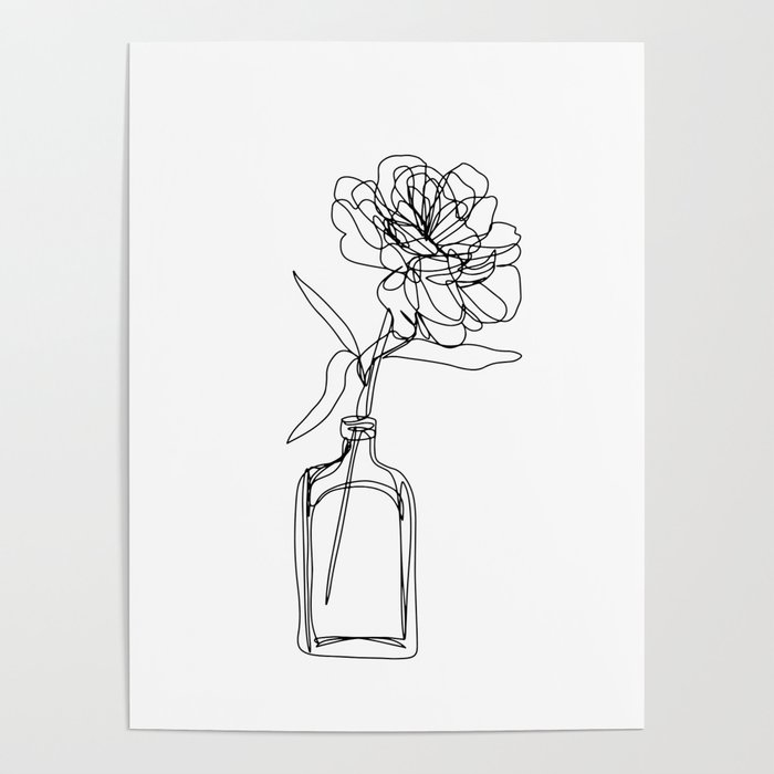 Minimal Single Line Drawing Of Flower In Vase Black And White Peony Rose Poster By Brabikate Society6