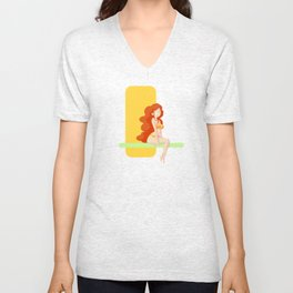 Cute red head pin-up / Mignonne pin-up rousse Unisex V-Neck