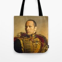 allyson johnson Tote Bags featuring Dwayne (The Rock) Johnson - replaceface by replaceface