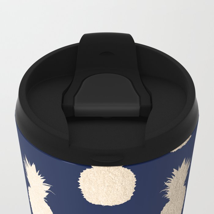 Gold Pineapple Pattern Navy Blue Metal Travel Mug