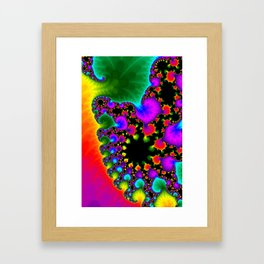 Abstract art fractal art psychedelic art green yellow lilac red Framed Art Print