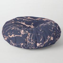 Modern chic navy blue rose gold marble pattern Floor Pillow