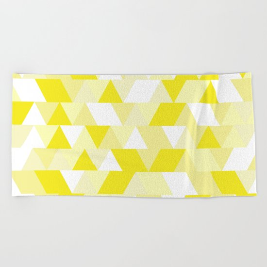 Simple Geometric Triangle Pattern- White on Yellow- Mix & Match with Simplicity of life Beach Towel
