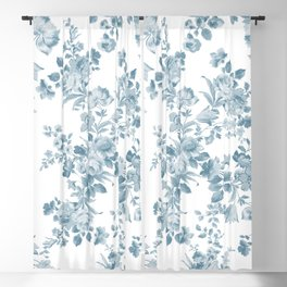 Vintage blue white bohemian elegant floral Blackout Curtain