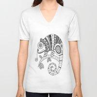 chameleon V-neck T-shirts featuring Chameleon by Afriquita