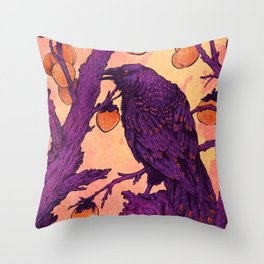 Raven and Persimmons Throw Pillow