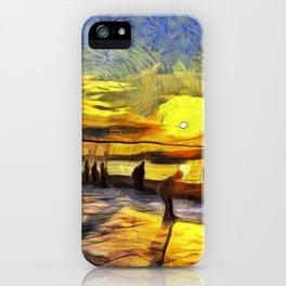 Sunset Fishing Istanbul Van Gogh iPhone Case