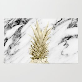 Gold Pineapple on Marble Rug