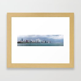 Chicago Skyline Pictures from Michigan Lake Framed Art Print