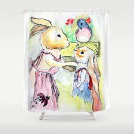 Watercolor from Rigley Rabbit and his Ginormous Floppy Ears Shower Curtain