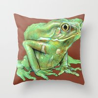 frog Throw Pillows featuring Frog by Emily A Robertson