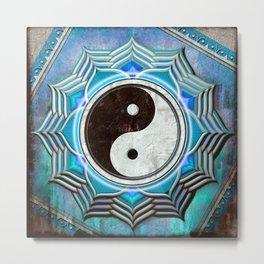 Yin Yang - Healing Of The Blue Chakra Metal Print