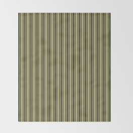 Large French Khaki Mattress Ticking Black Double Stripes Throw Blanket