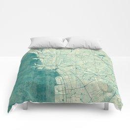 Manila Map Blue Vintage Comforters