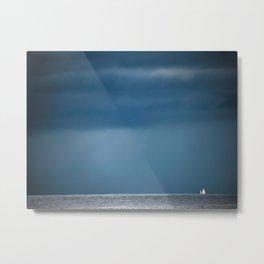 Minimalist Photo Blue Skies Grey Water And White Boat Metal Print