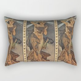 "Alphonse Mucha ""The Moon and the Stars Series: The Morning Star"" Rectangular Pillow"