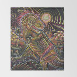 End of the World Party (Tyrannosaurus rex + UFOs) Throw Blanket