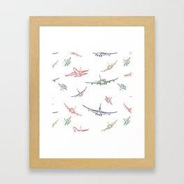 Colorful Plane Sketches Framed Art Print