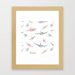 Colorful Plane Sketches Framed Art Print