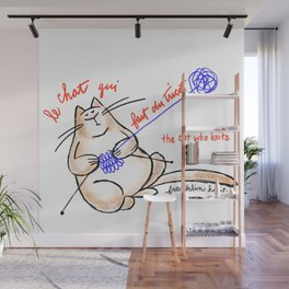 Le chat qui fait du tricot (the cat who knits) Wall Mural