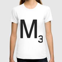 Letter M - Custom Scrabble Letter Tile Art - Scrabble M Initial T-shirt