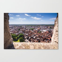 View of York from York Minster Cathedral tower Canvas Print