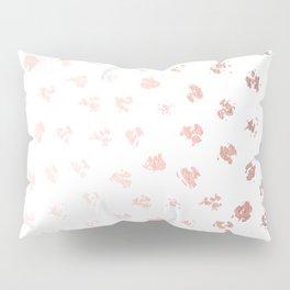 Rose Gold Pink Polka Splotch Dots on White Pillow Sham